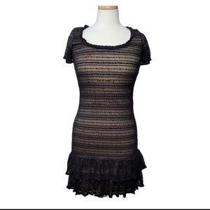 STUDIO M Dress Mini Lace Ruffles Body Con